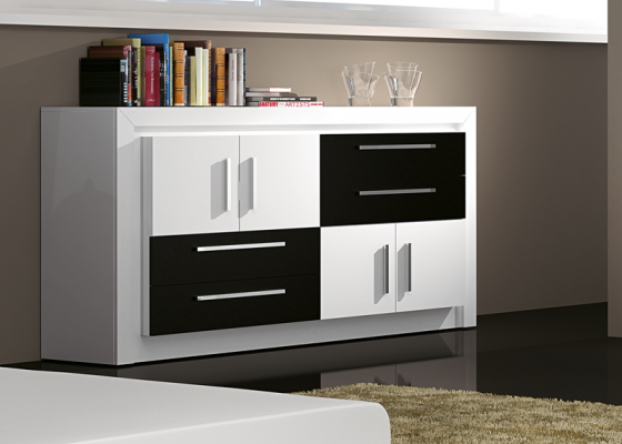 ambiance de salon en laque blanc neige composition modulaire et buffet mod terzo. Black Bedroom Furniture Sets. Home Design Ideas