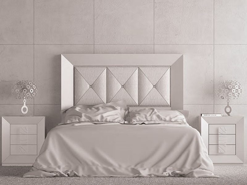 chambre laqu e en blanc n 120 t te de lit tapiss e et. Black Bedroom Furniture Sets. Home Design Ideas