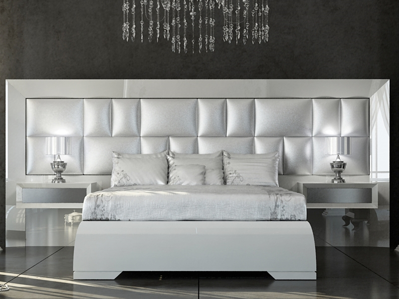 chambre laqu e en blanc 120 haute brillance et argent 151 haute brillance t te de lit garnie en. Black Bedroom Furniture Sets. Home Design Ideas