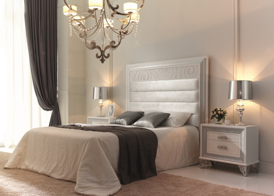 Lacquered bedroom with upholstered headboard. Mod. GA32