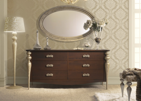 Set of chest of drawers and mirror. Mod. GA41