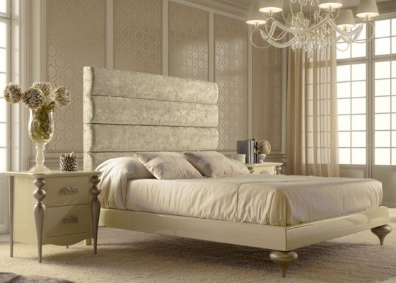 chambre avec t te de lit garnie en tissu 84b et laqu e en couleur 289br haute brillance et. Black Bedroom Furniture Sets. Home Design Ideas