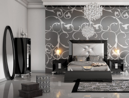 Lacquered bedroom  and upholstered headboard. Mod. LOANA