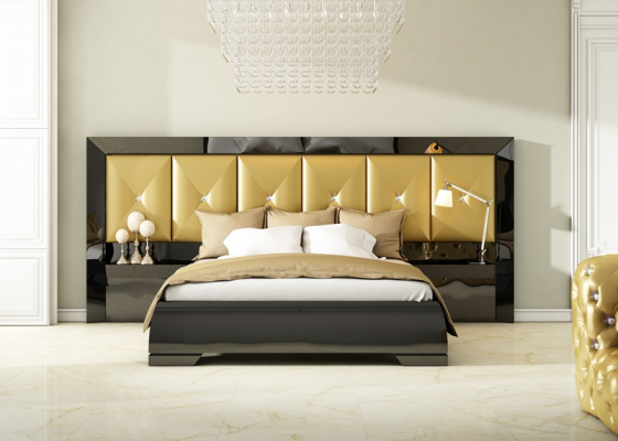 Lacquered bedroom with upholstered large headboard. Mod. ANNETTE