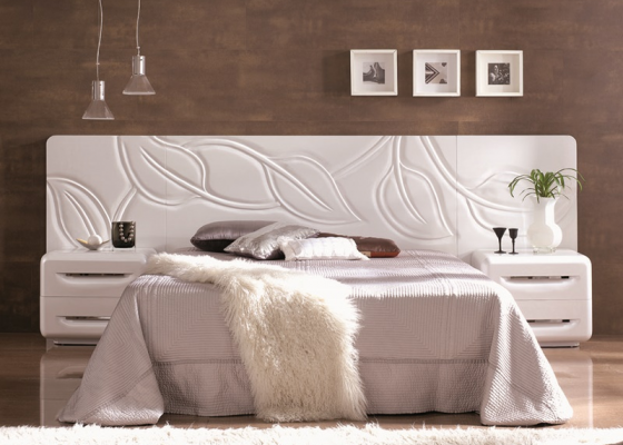 Bedroom with headboard. Mod. HOJAS CORRIDO
