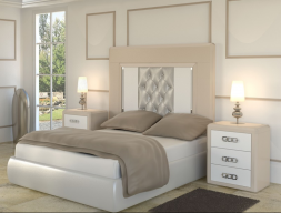 Lacquered bedroom with uphosltered headboard. Mod.  MADEIRA 09 COMBI