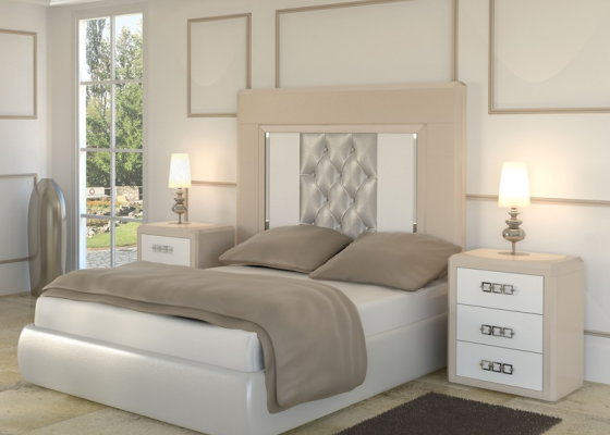 Lacquered bedroom with uphosltered headboard. Mod.  MADEIRA