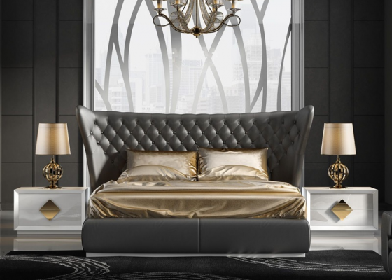 Bedroom with upholstered headboard. Mod. CARMEN