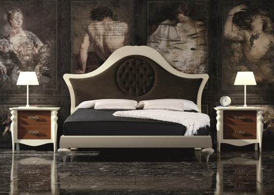 Lacquered bedroom with upholstered headboard. Mod. PA39