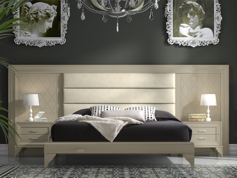 chambre avec t te de lit avec longueur optionnelle entre 297 et 343 cm garniture au milieu et. Black Bedroom Furniture Sets. Home Design Ideas