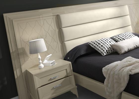chambre avec t te de lit avec longueur optionnelle entre 297 et 343 cm garniture au milieu et. Black Bedroom Furniture Sets. Home Design Ideas