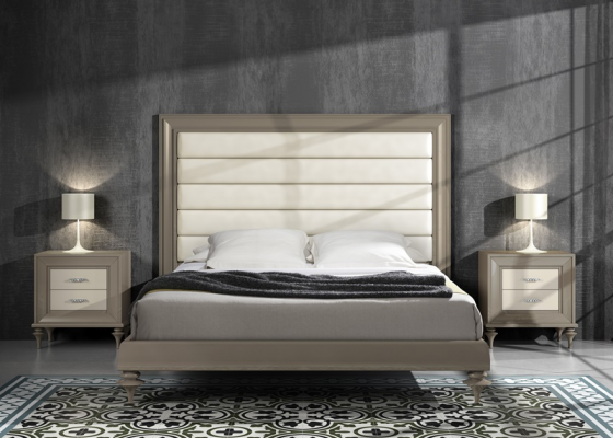 Lacquered bedroom with upholstered heaboard. Mod. GA28