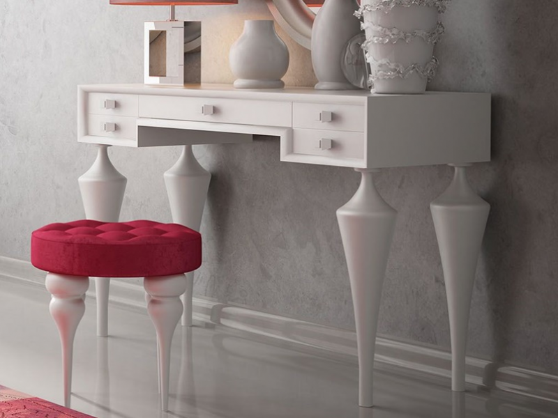 Set of vanity table, mirror and bench. Mod. DALIA