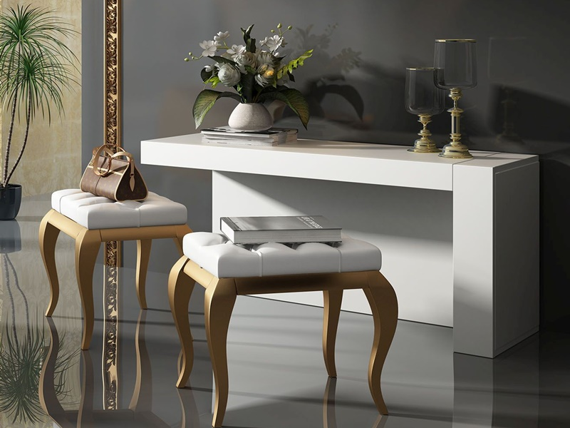 Set of vanity table and bench. Mod. TANNIA