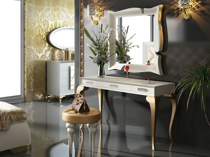 Set of vanity table, mirror and bench. Mod. GOLD