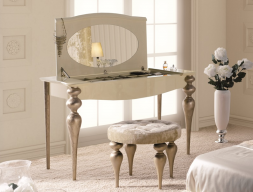 Set of vanity table, mirror and bench. Mod. PA0006