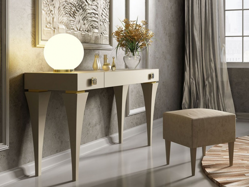 Set of vanity table and bench. Mod. HELENNA