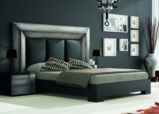 Bedroom with upholstered headboard. Mod. GORDON PLATA