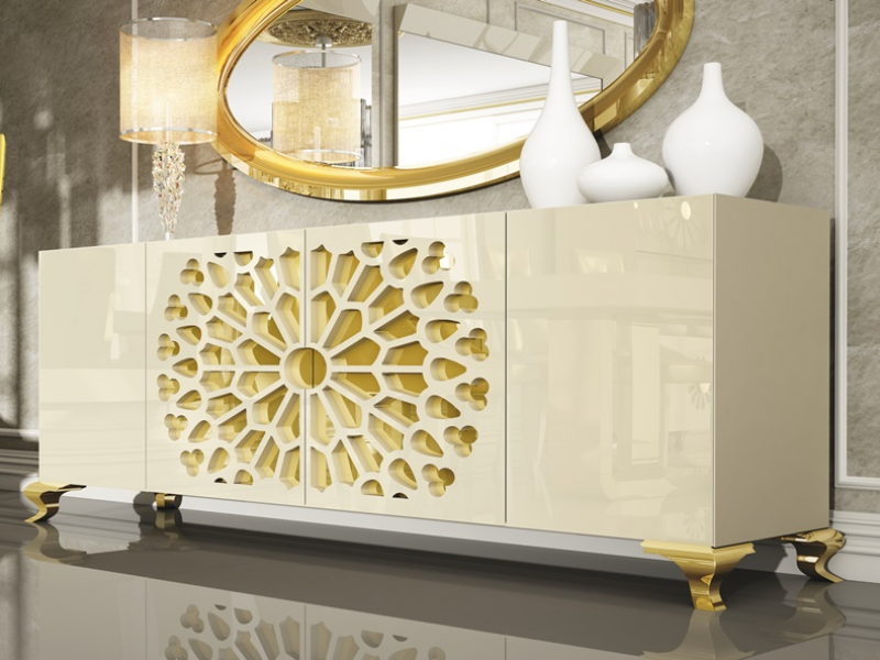 Set of sideboard and mirror. Mod. LUXE