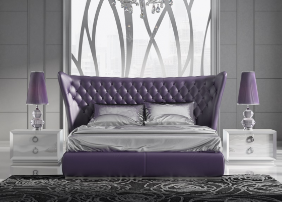 Bedroom with upholstered headboard. Mod. YAIZA