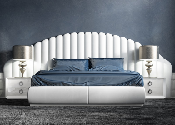 Bedroom with upholstered headboard. Mod. ABBAS