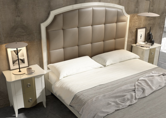 Lacquered and upholstered bedroom. Mod. ALMA