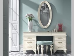 Set of vanity table, mirror and bench. Mod. GA0002