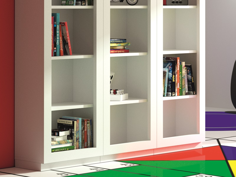 Set of bookshelves with 15 hollow spaces. Mod. AMSTERDAM