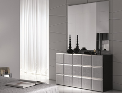 Set of chest of drawers and mirror, mod: NATASSIA