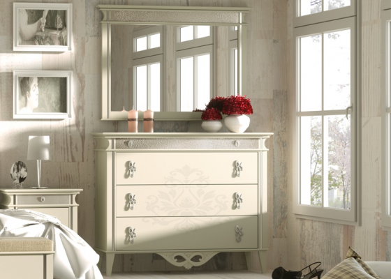 Set of chest of drawers and mirror, mod: ROYAL