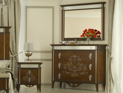 Set of chest of drawers and mirror, mod: ROYAL-R