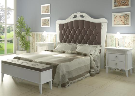Lacquered and upholstered bedroom. Mod: ROYAL04