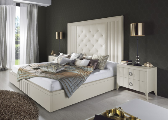 Lacquered and upholstered bedroom. Mod. LOYRA