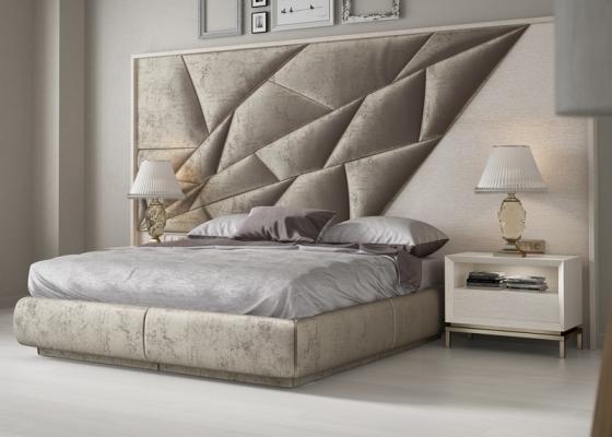 Upholstered and oak wood bedroom. Mod: NAUGE