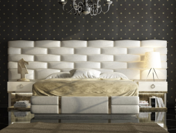 Lacquered and upholstered bedroom with champagne leaf details. Mod. VERDI