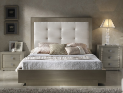 Lacquered and upholstered bedroom. Mod. DIAMOND CHAMPAGNE