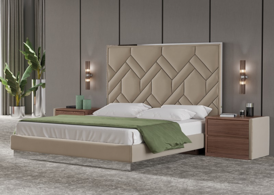 Upholstered, astainless steel and walnut wood bedroom. Mod. DORIANNE