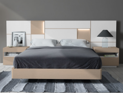 Bedroom with extra long headboard in oak wood. Mod. MONTERREY