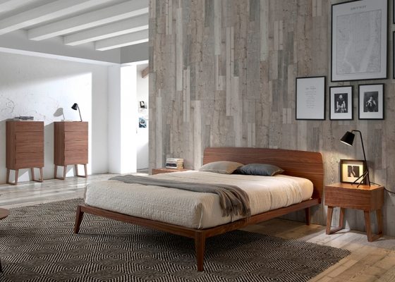 Walnut wood bedroom. Mod. NOTTE