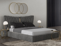 Upholstered and stainless steel bedroom. Mod. KAIPA