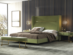 Upholstered and stainless steel bedroom. Mod. CAMILE