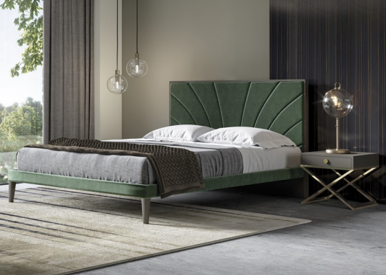 Upholstered and stainless steel bedroom. Mod. BARDOT
