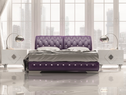 Upholstered  bedroom with Swarovski buttons details. Mod. NAJMA