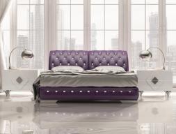 Upholstered  bedroom with Swarovski buttons details. Mod. NAJMA
