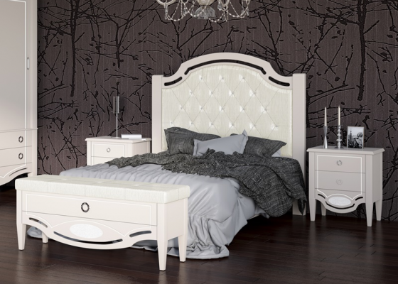 Lacquered and uphosltered bedroom. Mod. SUITE UPHOSLTERED