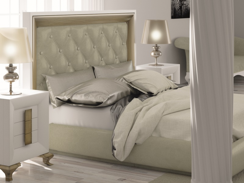 Lacquered and upholstered bedroom padded with  buttons. Mod. TABIA