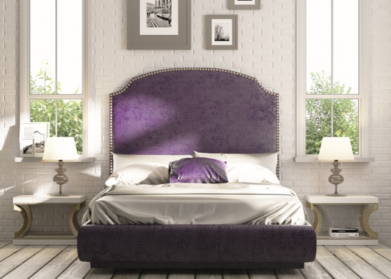 Upholstered bedroom with nails. Mod. NUBIA