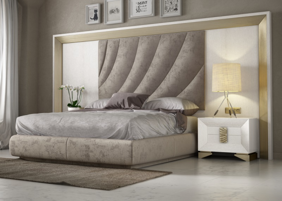 Large XXL oak and upholstered bedroom. Mod. LAMA