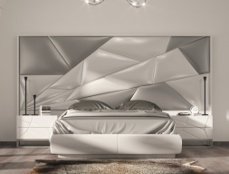 Lacquered and upholstered bedroom. Mod. SABBA