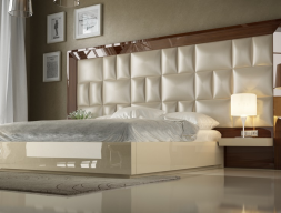 High gloss lacquered bedroom with XXL upholstered headboard . Mod. SAHARA